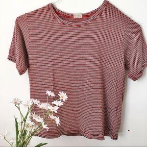 John Galt Brandy Melville Red Striped T-Shirt